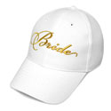 Bride Wedding Baseball Cap Gold embroidery  White Hat