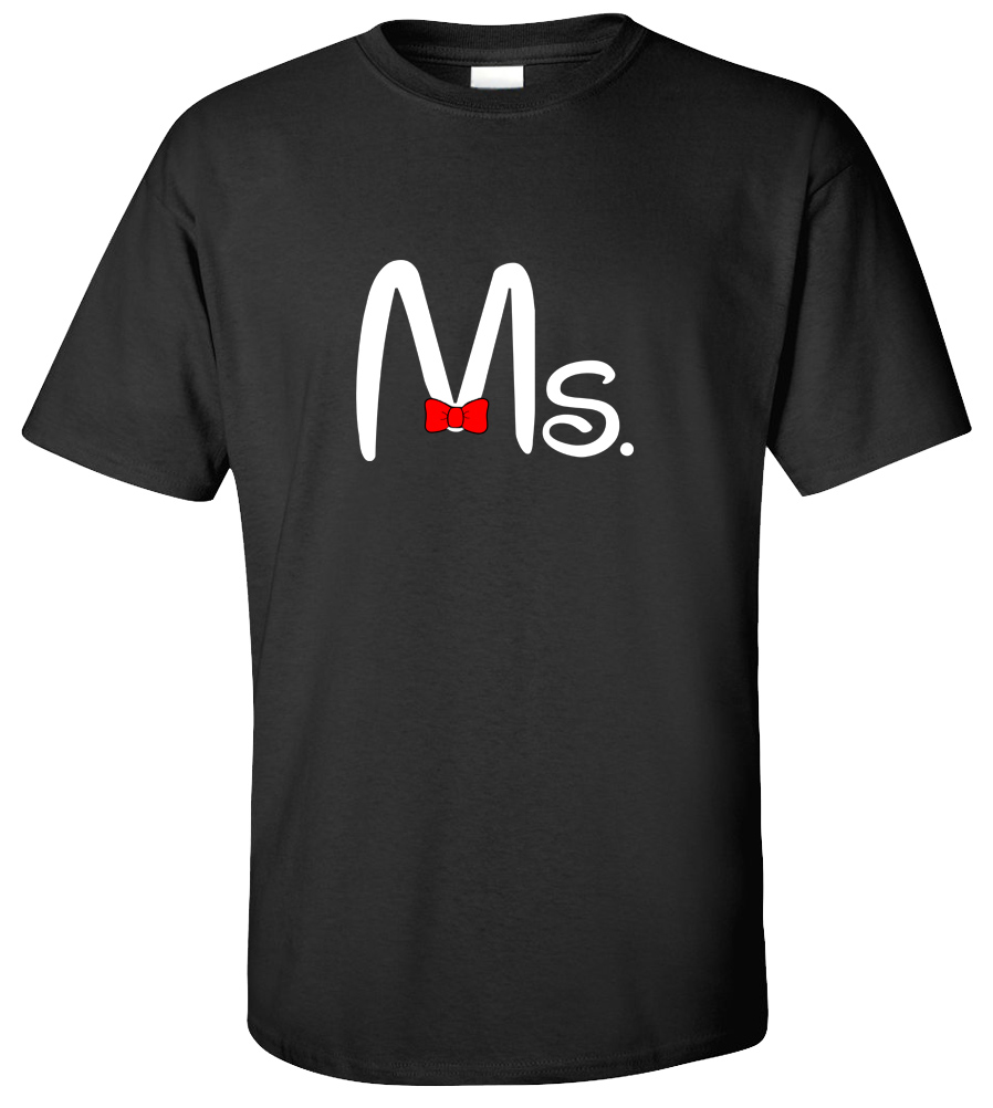 Couple Matching Ms and Mrs T-shirt Funny Couple Love St. Valentine's Day Super Cute Mickey Tee