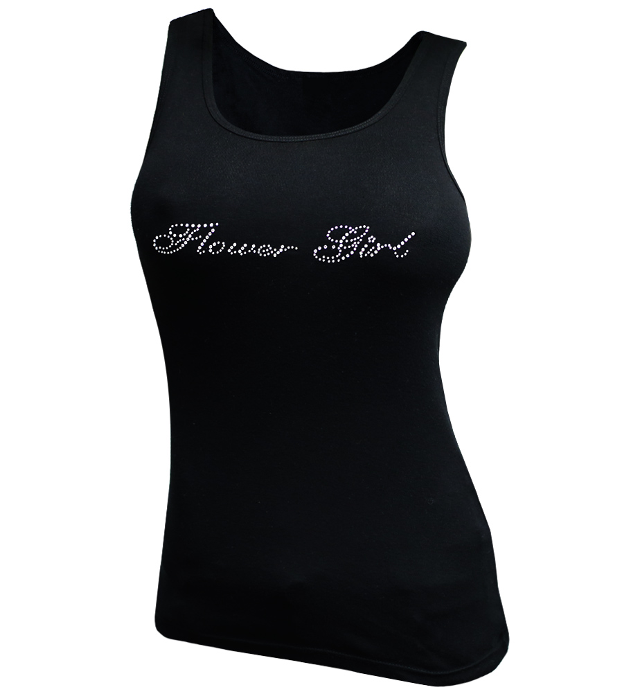 Flower Girl Rhinestones Wedding Tank Top