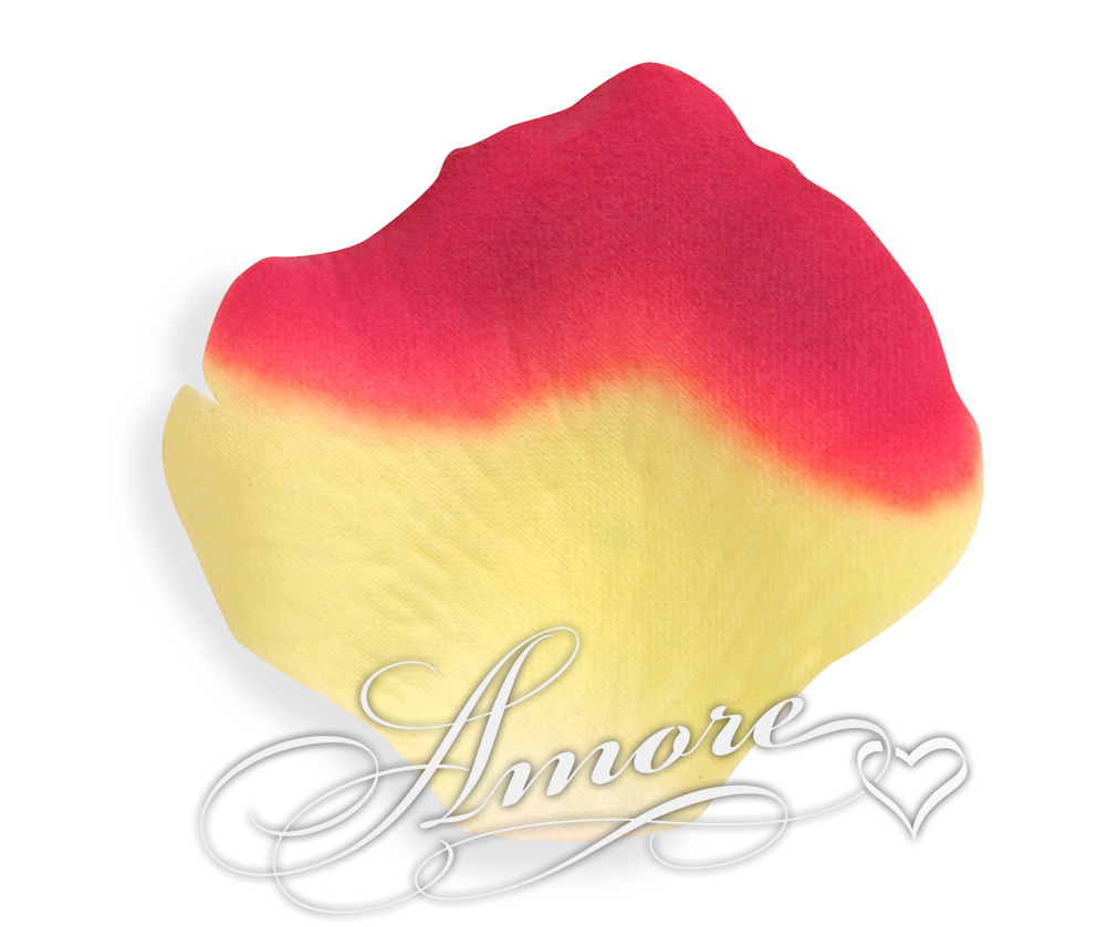 Athena Yellow and Red Silk Rose Petals Wedding